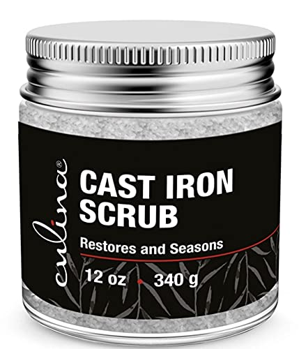 Culina Cast Iron Cleaning & Restoring Scrub   Removes Rust Without Scratching & Care Before Cleaning, Washing & Seasoning   100% Natural   for Cast Iron Skillets, Pans & Cookware