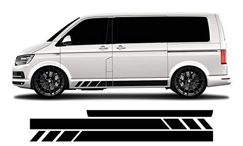 WRAP-SKIN Seitenstreifen Set passend für VW T4 T5 T6 Seitenaufkleber Aufkleber WS-03-08-10003 070M Schwarz Matt