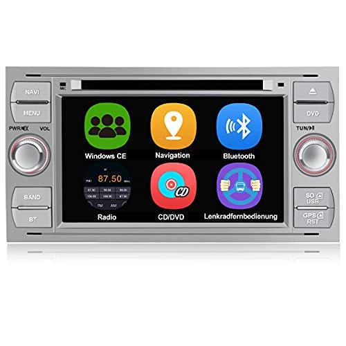 AWESAFE Autoradio mit Navi für Ford Focus, unterstützt Bluetooth Lenkradbedienung Mirrorlink CD DVD Doppel Din Radio 7 Zoll Bildschirm - Silber