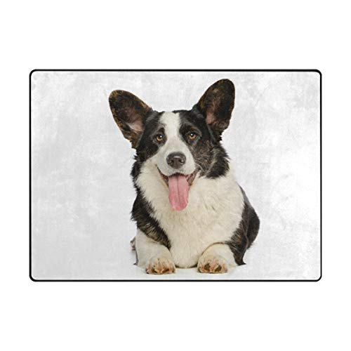 Orediy Große Schaumstoff-Weiche Teppiche Welsh Corgi Cardigan Hund leicht Kinder Spielmatte Boden Yoga Matte Kinderzimmer Teppich für Wohnzimmer Schlafzimmer, Polyester, Multi, 203 x 147 cm