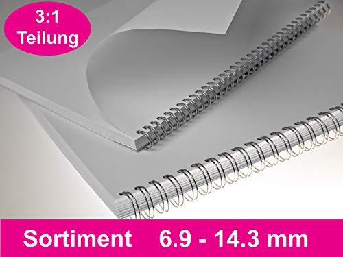 Teilung 2:1 silber 23 Ringe 100 RENZ Drahtkamm 60 Blatt DIN A4 8,0 mm Binder/ücken