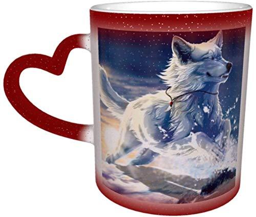 Taza de café Wild Predator Wolf Running in The Water Magic Heat Sensitive Color Cambio Taza en el Cielo Taza de cerámica Taza de café Regalo de Navidad Cumpleaños