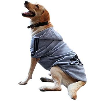 Eastlion Sweat à Capuche Grand Chaud Coton Sweatshirt pour Chiens Pet Pull Vêtements Veste pour Chien Manteau Jumpsuit Costume,Gris,8XL