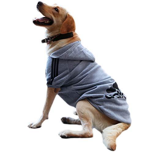 Eastlion Felpa Cane Grande Vestiti Cappotto Caldo Felpe con Cappuccio Maglione per Cucciolo di Cane Piccolo in Cotone Costumi Abbigliamento per Animali Domestici,Grigio 8XL