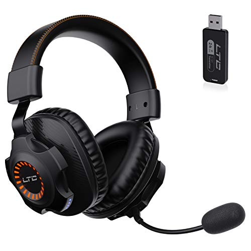 LTC SoundSlave 2.4G Wireless/Wired Gaming Headset, Detachable Noise Canceling Microphone, Orange LED Light Headphones for PC Laptop Mac Games