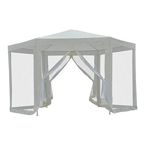 Outsunny Carpa Gazebo Tipo Cenador Hexagonal con Mosquitera para Jardín y Terraza φ3.9m Material de Poliéster Repelente al Agua (Crema)