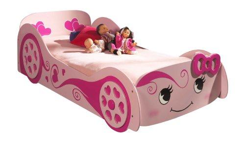 Vipack SCLB200 Autobett Pretty Girl Love Car Bed, Circa 213 x 68 x 101 cm, Liegefläche 90 x 200 cm, lackiert aufgedruckte Optik, rosa