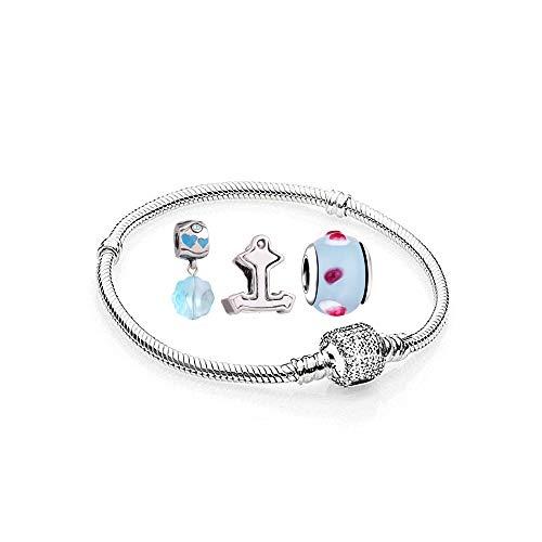 AKKi jewelry Charms - 1 Armband und 3 Anhänger in Türkis Farbe Silber Starter Set Angebot, Edelstahl Zirkonia Murano Glas Beads für Bettelarmband 16cm Zirkonia Silber