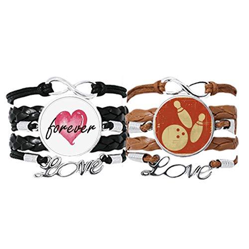 Bestchong Bowling Sport Illustration Rot Muster Armband Handschlaufe Leder Seil Forever Love Armband Doppelset