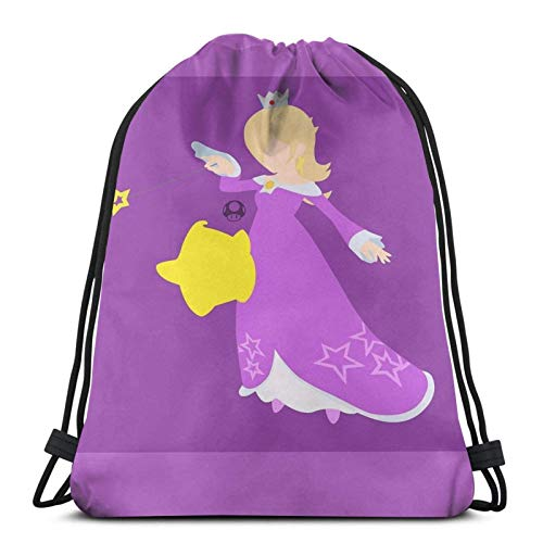 WH-CLA Drawstring Backpack Rosalina \U0026 Luma (Púrpura) - Super Smash Bros.Men Print Mujer Casual Anime Gym...