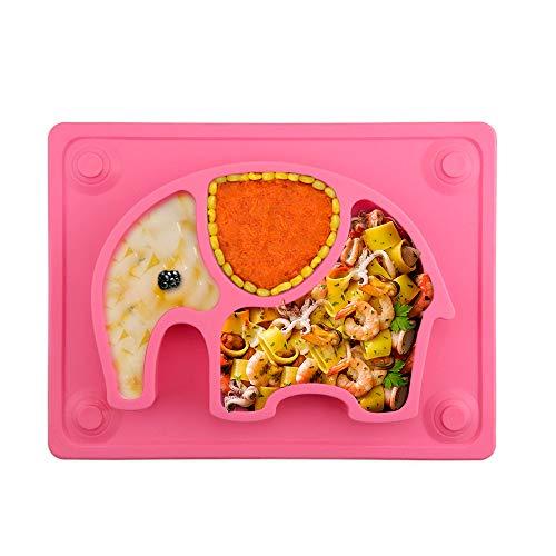 Baby Teller, Silikon Rutschfester Baby Tischset für Baby Kleinkind und Kinder,kinderteller passend für die meisten Hochstuhl-Tabletts (Pink elephant)