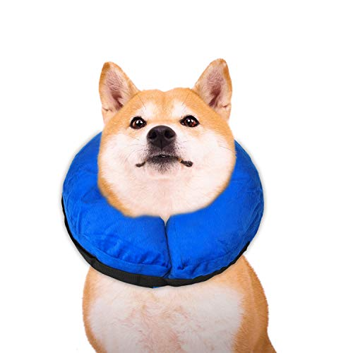 TANDD Protective Inflatable Collar for Dogs and Cats, Comfortable Pets Post Operative Collar to Prevent Pets from Touching Biting Scratching at Injuries Wounds Stitches - Size M