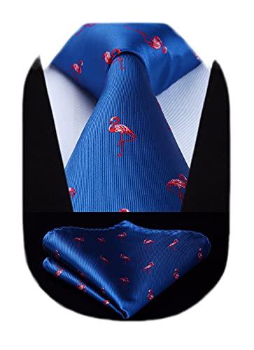 HISDERN Corbatas de Hombre azul con Motivo flamenco rojo Modernas Boda Corbata y Pañuelo Conjunto Elegante de Business Partido