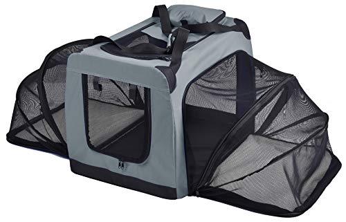 AmazonBasics Premium Folding Portable Soft Pet Dog Crate Carrier Kennel - 26 x 18 x 18 Inches, Grey