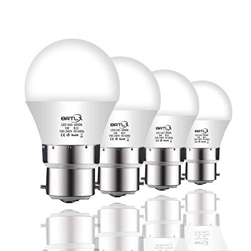 BRTLX Ampoules LED Standard Culot B22, G45 5W équivalent 45W, Blanc Froid 6000K, Dépolie, Lot de 4