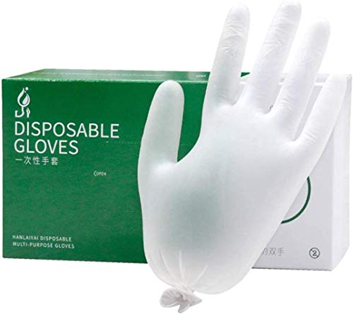 Wymf Food Grade Wegwerp Pvc Handschoenen, Transparante Catering Bakken Handschoenen Verdikking Poeder Schoonheid Isolatie Beschermende Handschoenen Nitril (L,2 Boxes of 200pcs)