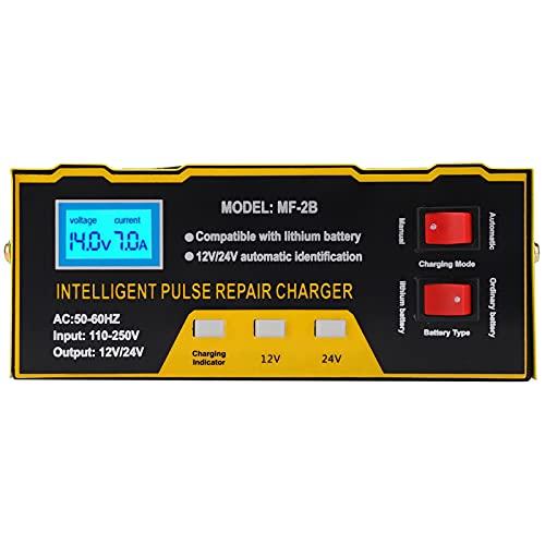 Cargador de batería 180W 12V 24V Cargador de batería de motocicleta de coche Cargador de tipo de reparación inteligente completo Reducción de calor inteligente AC250V(EU Plug)