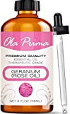 Ola Prima 4oz - Premium Quality Rose Geranium Essential Oil (4 Ounce Bottle) Therapeutic Grade Rose Geranium Oil