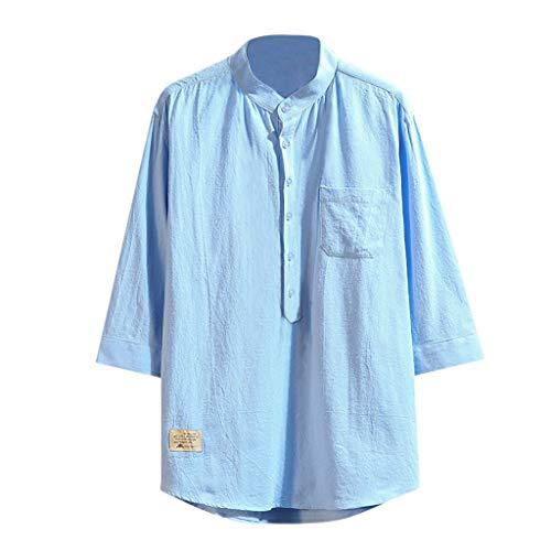 Herren Leinen Taste DREI Viertel Sleeve Volltonfarbe lose beiläufige T-Shirt Bluse