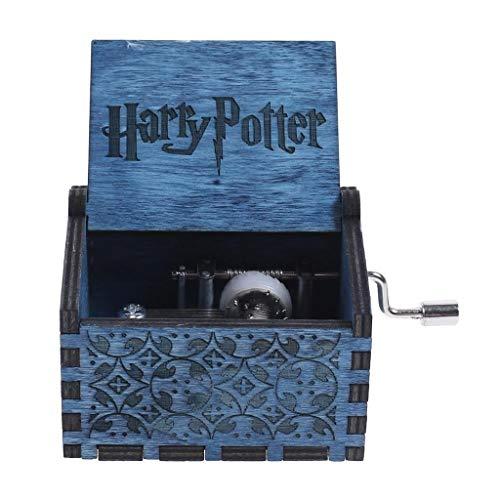JINWEI Madera de la Caja de música de la manivela del Grabado de la Vendimia de Madera Caja de música de la Boda San Valentín Navidad Musical Regalo de Harry Potter Buen Regalo (Color : B)