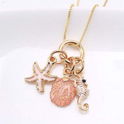Halskette Nette Böhmen Kinder Mädchen Charming Shell Seepferdchen Seestern Anhänger Lange Kette Halskette Für Kind Urlaub Schmuck, A
