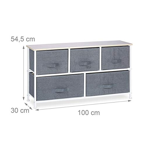 Relaxdays, Grigio 10023328_493 Mobiletto con 5 Cassetti, Mobile Cassettiera, HxLxP: 54,5 x 100 x 30 cm, Tessuto, Metallo, Legno