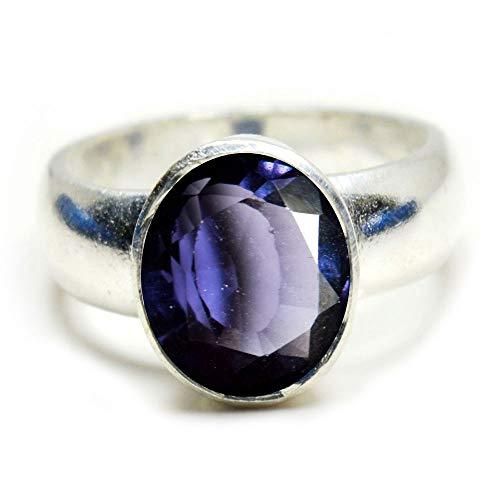 Gemsyogi Herren Damen Unisex - Sterling-Silber 925 Oval Blue Alexandrit-Stein