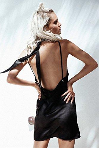 CXSM clothes Im Sommer 2018 Europäische und Amerikanische Damen verkaufen auf ebay Geschwindigkeit wünschen sexy Strap Low ist auch V-Ausschnitt und Brustgurte Kleider, schwarz, M