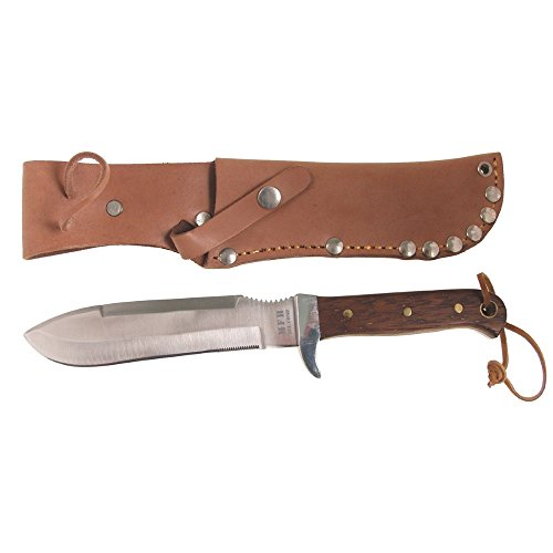 BW Fallschirmspringermesser, Holzgriff, Lederscheide, Länge: 27,5 cm, Klinge:...