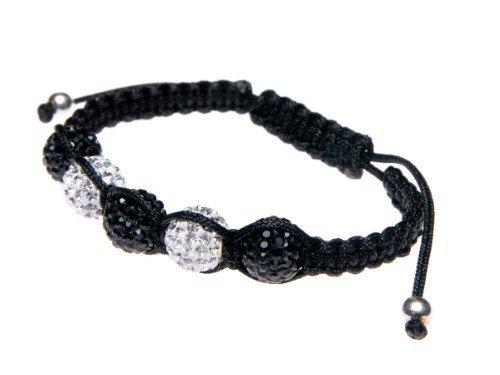 Andante-Stones incantevole bracciale SHAMBALA (16-22 cm) perle color nero e bianco con elementi SWAROVSKI + Sacchetto di organza
