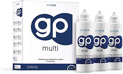 Solución Avizor GP Multi para lentes de contacto rígidas y permeables al gas. 3 unidades de 240ml