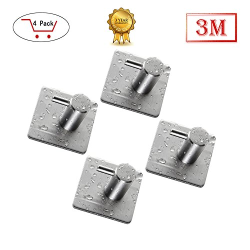 Towel Hook,Towel Hooks For Bathrooms with 3M Self Adhesive SUS 304 Stainless Steel Brushed Nickel For Kitchen Organizer(4 Pack)