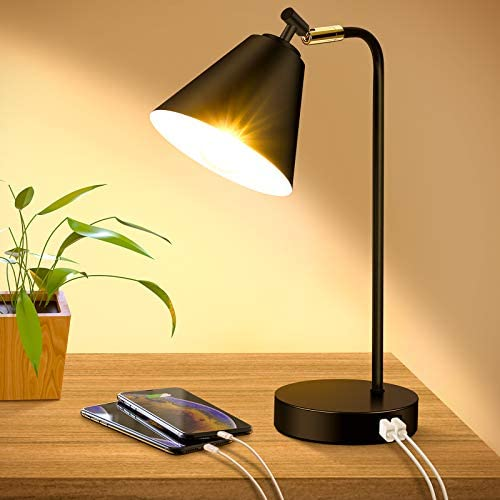 Industrial Dimmable Desk Lamp with 2 USB Charging Ports AC Outlet Touch Control Bedside Nightstand product image