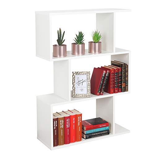 RICOO WM072-WM Estantería 97 x 70 x 25 cm Estante Librería Moderna Biblioteca Muebles de hogar Mueble almacenaje 3 Niveles Color Madera Blanco Mate