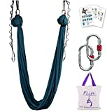 F.Life Aerial Yoga Hammock kit Include Daisy Chain,Carabiner and Pose Guide (Blackish Green)
