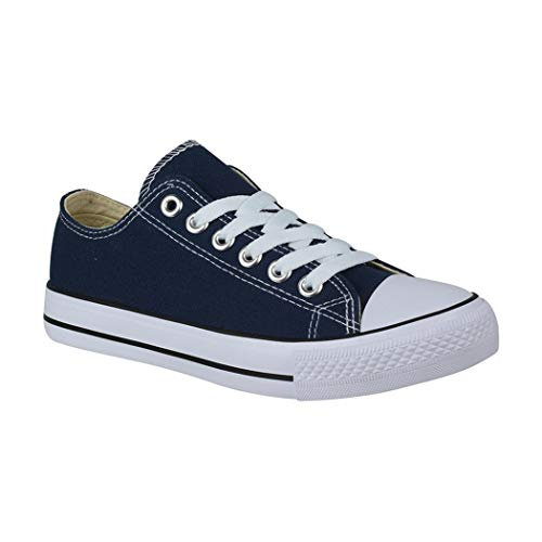 Elara Unisex Sneaker Turnschuh Low Top Textil Schuhe Chunkyrayan YD3230-DeepBlue-38