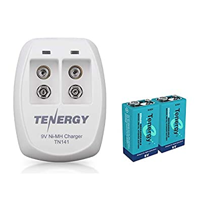 Tenergy TN141 2 Bay 9V Smart Charger with Blue 9V batteries combos