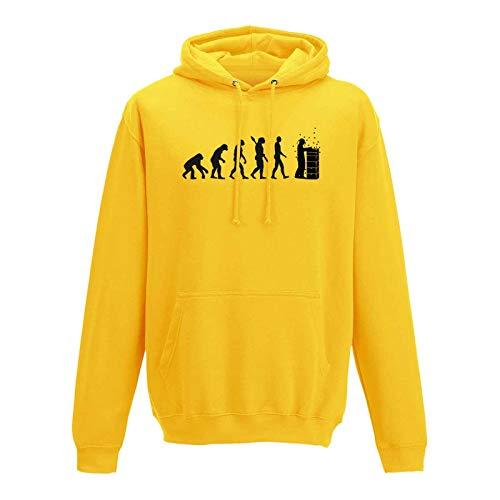 AWD / Just Hoods Hoodie Evolution Imker Bienen Züchter Honig Imkerei 10 Farben Herren XS-5XL Biene Imkermeister Bienenstock Bienenvolk Zeidler, Größe:M, Farbe:gelb - Logo schwarz