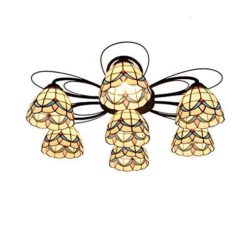 HongLianRiven meubels woonaccessoires plafondlamp Tiffany-art-kandelaar milieustandaarden eenvoudige Middellandse Zee International Safety Entertainment Places 3-8 (kleur: kleur, maat: 7 arms)