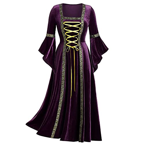 BIBOKAOKE Robe médiévale pour femme - Robe gothique - Longueur du sol - Robe à lacets - Style rétro, gothique, renaissance victorienne - Robe de sorcière - Robe maxi