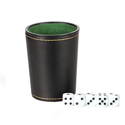 SUNERLORY Dados Cup Clubs Casino Manual Fiesta Entretenimiento Coctelera Suministros de Juego de la PU Cuero Bar KTV Gambling Silencio Profesional Forrado