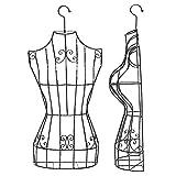 Maniqui Costura Medio Cuerpo de Maniquí Femenino de Metal Colgante, Forma de Vestido de Mujer con Gancho Giratorio de 360 ° y Marco de Alambre, para Blusa/Vestidos de Novia/Vestidos/Ropa Interio