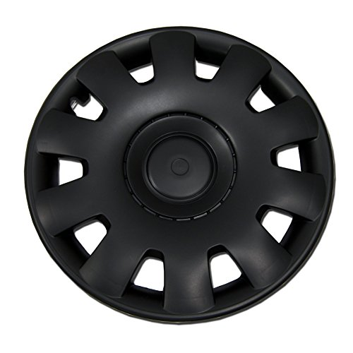 TuningPros WSC-032B15 - Pack of 4 Hubcaps - 15-Inches Style Snap-On (Pop-On) Type Matte Black Wheel Covers Hub-caps