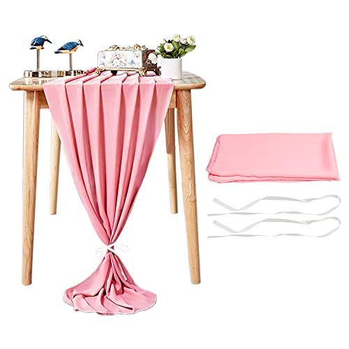 Runner da tavolo in chiffon 28x120 pollici Runner da tavolo trasparente extra lungo Runner da toeletta per feste di matrimonio romantico Baby Shower Decorazioni (rosa)