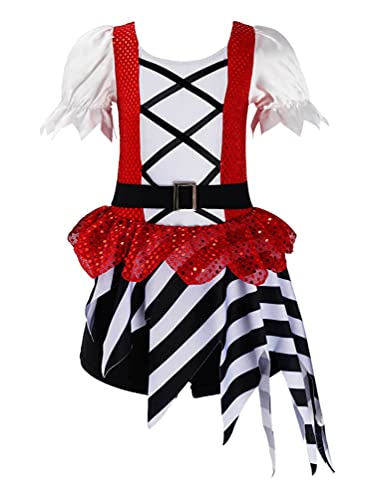 dPois Disfraz de Pirata Halloween para Nia Disfraz Circo Mago Mono con Manga Corta Ropa de Pirata Disfraces de Halloween de Payaso Nia Rojo 3-4 aos