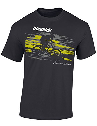 T-Shirt: Downhill Adrenaline - Fahrrad Geschenke für Damen & Herren - Radfahrer - Mountain-Bike - MTB - BMX - Biker - Rennrad - Tour - Outdoor - Downhill - Dirt - Freeride - Trail - Cross (L)