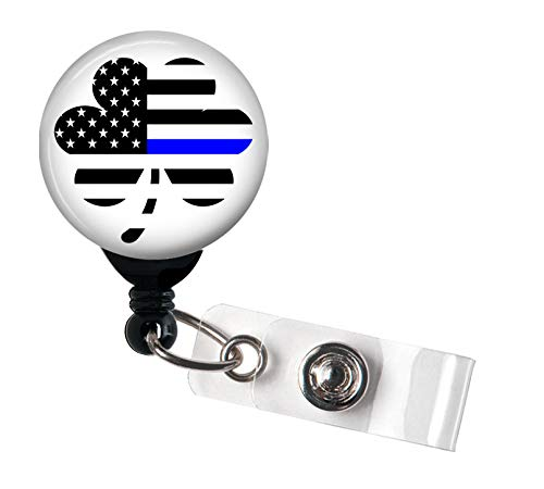 Shamrock Thin Blue Line Flag - Police Lives Matter - Retractable Badge Reel with Swivel Clip and Extra-Long 34 inch Cord - Badge Holder/Irish
