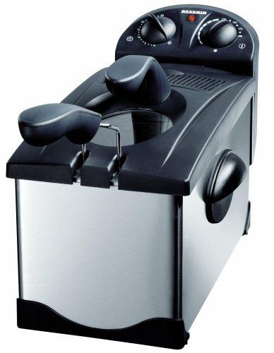 Severin FR 2414 Fritteuse, Edelstahl-gebürstet-schwarz / 3,0 Liter Inhalt/Frittiermenge 600 g / 2100 W