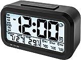 ELYSIUM Creative Smart Nightlight Alarm Clock Bedside Desk Table Electronic Clock Battery Operated Mute Luminous Alarm Clock with Adjustable Light (Black)