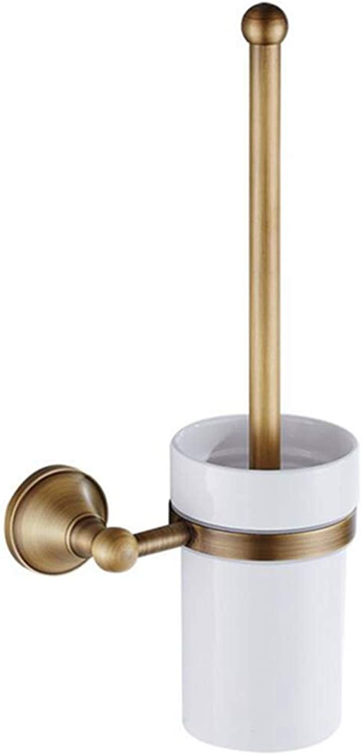 LUDSUY Retro Bathroom Pendant White Ceramic Cup Full Copper European Antique Toilet Brush Holder